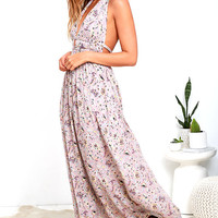 Truth Be Told Mauve Print Halter Maxi Dress