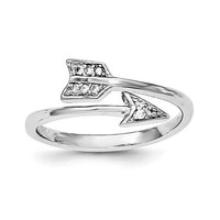 Sterling Silver CZ Arrow Adjustable Ring