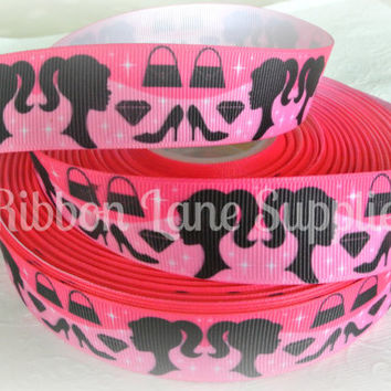 NEW Ribbon by the Yard Inspired Girl Barbie-Black Silhouette doll pink grosgrain ribbon- crafting hair bows sewing by RibbonLaneSupplies