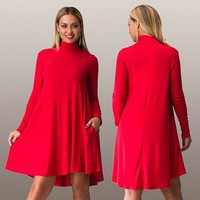 Hot Popular 2016 Trending Fashion Women Extra Plus Size Loose High Collar Neck Long Sleeve Solid One Piece Dress _ 7810