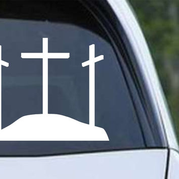 Three Crosses Christian Die Cut Vinyl Decal Sticker