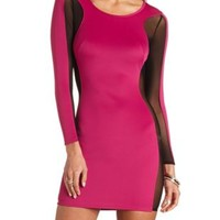 Mesh-Sided Long Sleeve Bodycon Dress - Festival Fuchsia
