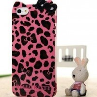 Hello Kitty Leopard & Bow Case for Apple Iphone 5 -- Hot Pink