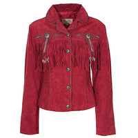 Scully Red Suede Jacket with Conchos and Fringe