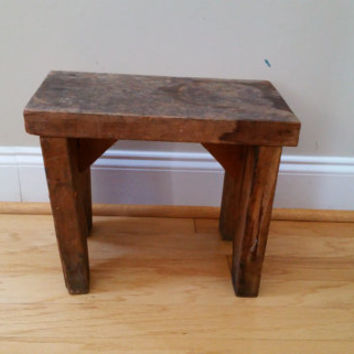 Vintage Rustic Handmade Wood Stool Bench Shelf