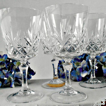 French Durand Cristal d'Arques Cut Lead Crystal Water Goblets, Durand Chantilly Taille Beaugency, Set of 6 French Wine Glasses, Fan Cut Bowl