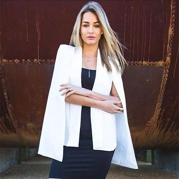 Women Fashion Split Long Sleeve Casual Cape Suit Jacket Cloak Blazer Ladies Coat Femininas Solid White Black Formal Feminino