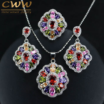 Cubic Zirconia Indian Silver 925 Jewelry Sets For Women Multi Colored Big CZ Diamond Ring Necklace And Earrings Ladies T261