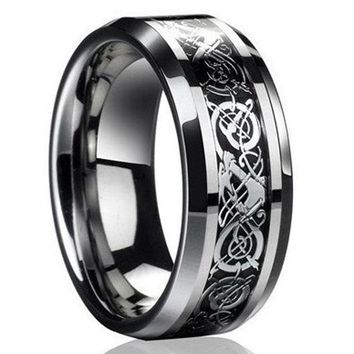 Fashion Men Celtic Dragon Carving Titanium Steel Wedding Band Ring Jewelry Gift