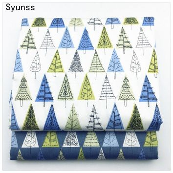 Printed Twill Cotton Fabric diy sewing baby cloth Quilting kids bedding textile Patchwork Fabric diy tecido blue yellow trees