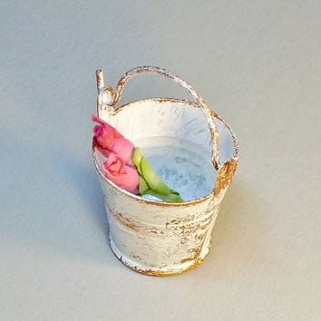 Dollhouse Miniature Shabby Metal Pail with Pink Flowers