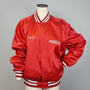 XL Vintage 90s Red Satin Bomber Baseball Coach Jacket / Red White Snap Button Jacket / 90s All-Star Jacket / Daily News Jacket / Red Bomber