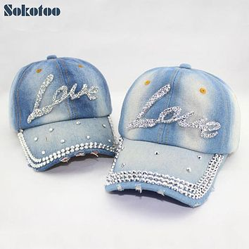 Sokotoo Women's fashion love letter rhinestone baseball cap Lady's casual denim hat Free shipping