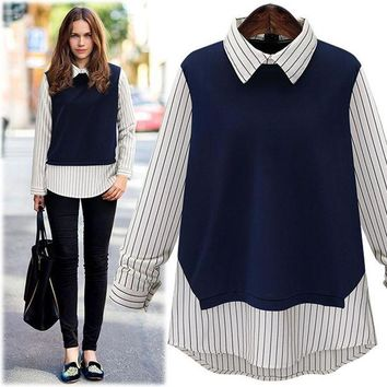 PEAP2Q large size 2016 new autumn fashion women peter pan collar stripe stitching long sleeved shirt ladies tops blouse