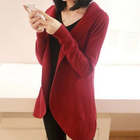 2017 Autumn Winter New Women Long Sleeve Knitted Sweater Casual Solid Scarf Collar Cardigans Sweaters