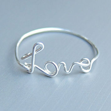 Sterling Silver Love Ring, Wire Love Ring, Silver Wire Ring, Dainty Ring, Best Friend Ring, Bridal Party Jewelry, Simple Ring
