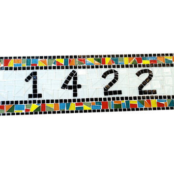 Whimsical Outdoor House Number Sign, Colorful Mosaic Address Plaque