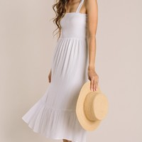 Peyton Tie Strap Smocked Midi Dress