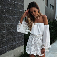 Off Shoulder White Lace Romper