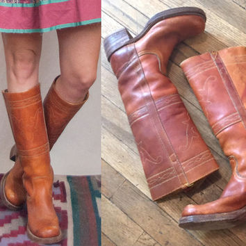 Womens Vintage Frye Campus Boots size 6 or 6.5 | Caramel Brown Tan Leather Stacked Heel Cowgirl Boots | Boho chic Leather tall riding boots
