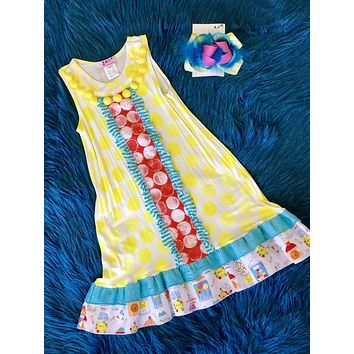 ZaZa Couture Clearance Spring Yellow Polka Dot Flower Pom Pom Fun Dress