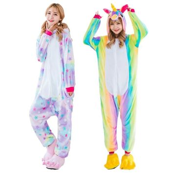 2017 NEW Animal Kigurumi Stitch Unicorn Panda Bear Koala Onesuits Adult Unisex Cosplay Costume Pajamas Sleepwear For Men Women