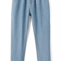 Blue Elastic Waist Pockets Denim Pants