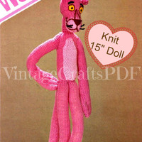 Pink Panther Vintage KNITTING Pattern-classic original knit stuffed toy doll-Vintage Knitting Pattern-Pink Panther Movies-Stuffed Toy Doll