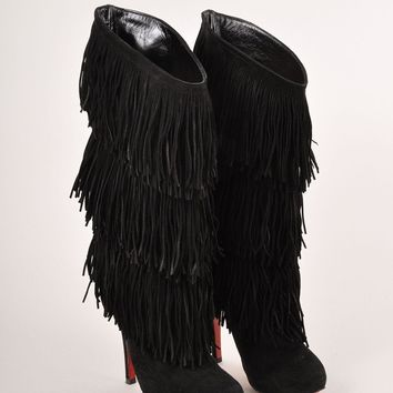 AUGUAU Black Fringe Suede  Forever Tina  Heeled Boots