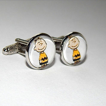 Charlie Brown Cufflinks, charlie brown characters, charlie brown jewelry, comics cufflinks, wedding cufflinks, groomsmen cufflinks