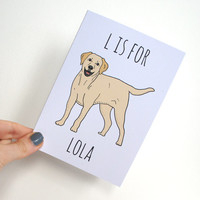 Labrador Personalised Pet Dog Card. Recycled Blank Greeting Card with Golden Labrador. Designed and Printed in UK. 100% Recycled Materials
