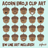 Acorn Emoji Facial Expressions Clip Art | 20 Emoticons in Color and BW Line Art