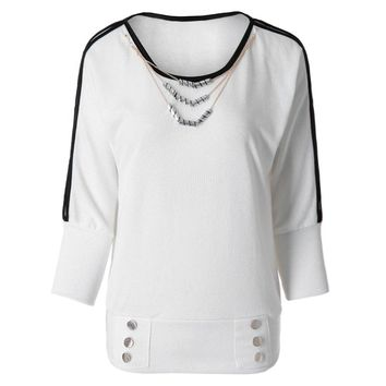 Cotton Casual Style Long Sleeve Candy Color Openwork Design Women's T-Shirt