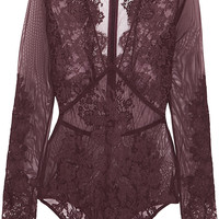 I.D. Sarrieri - Chantilly lace and stretch-tulle bodysuit