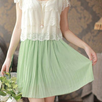 Light Green V-Neck Chiffon Mini Dress