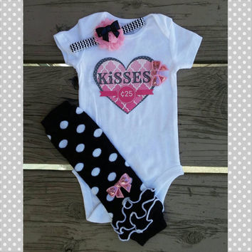 Kisses 25 Cents Valentine's Outfit - Polka dot- Baby Girl - Onesuit - Headband - Leg Warmers - 2015 - Quatrefoil