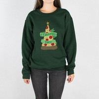 O Crustmas Tree Pizza (Color)Crewneck Sweatshirt