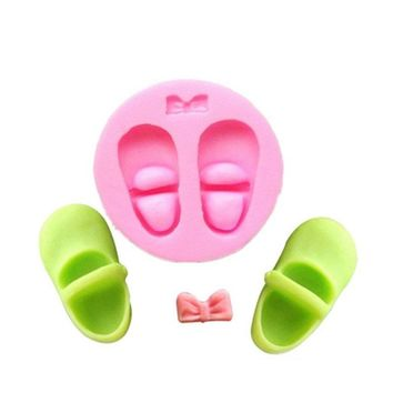 3D Baby Shoes Shape Silicone Cake Fondant Mold Baby Shower Party Events Cake Pastry