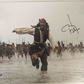 ESBONY Johnny Depp Signed Autographed 'Pirates of the Caribbean' Glossy 11x14 Photo (PSA/DNA COA)
