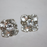 Vintage Earrings Crystal  Bezel Openback 1950 Jewelry