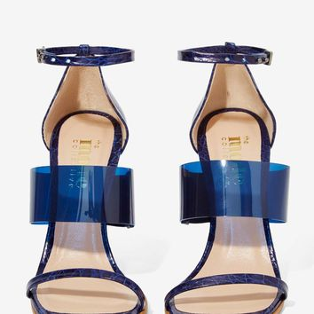 The Mode Collective Triple Threat Leather Heel - Navy Vinyl