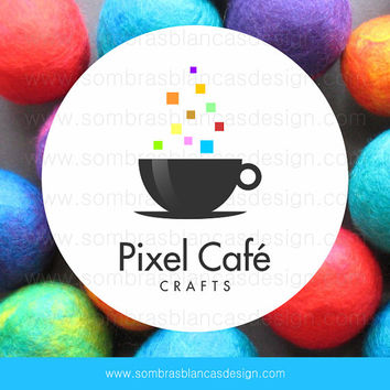 OOAK Premade Logo Design - Pixel Coffee - Perfect for a creative café or a craft supplies shop