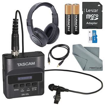 Tascam DR-10L Digital Audio Recorder w/Lavalier Mic & Bundle w/Headphones, 32 GB, Batteries + Cloth