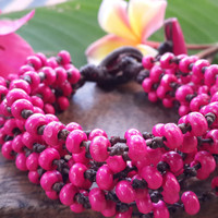Pink Torsade Bracelet Wood Beaded Mala Style Fair Trade