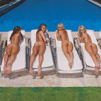 Sunbed Girls Nude Sunbathers Sexy! Poster 24x36