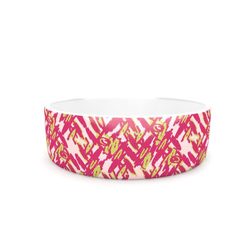 "Nandita Singh ""Abstract Print Pink"" Pink Red Pet Bowl"