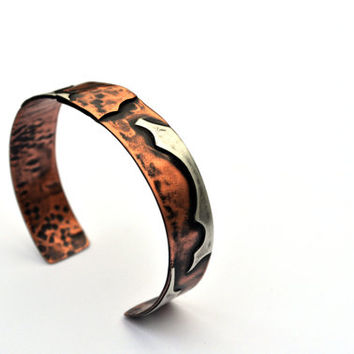 Copper and Silver Cuff Bracelet, Eco-Friendly Jewelry, Oxidized Sillver and Copper Bracelet, Mixed Metal Statement Jewelry