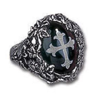Discontinued Alchemy Gothic Cemetary Cross Ring R76N Size 7