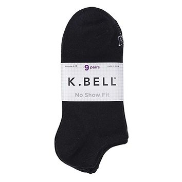 K. Bell Women's No Show Socks (Pack of 9 Pairs) No-Slip Pocket Heel
