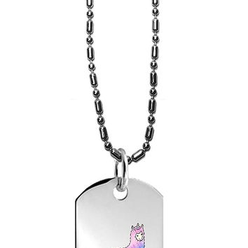 Hat Shark Mystical Fluffy Alpacacorn Standing Gallantly On a Rainbow Dripping Cloud - 3D Color Printed Military Dog Tag, Luggage Tag Pendant Metal Chain Necklace